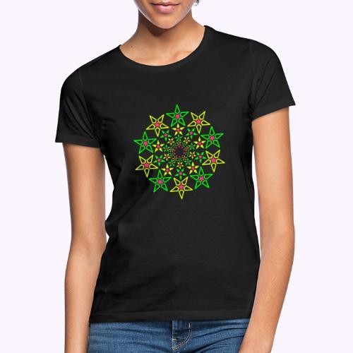 Fractal Star 3 färg neon - T-shirt dam
