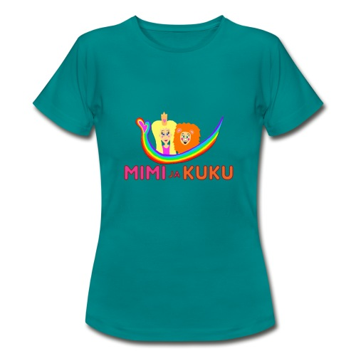 Mimi ja Kuku- sateenkaarilogolla - Naisten t-paita