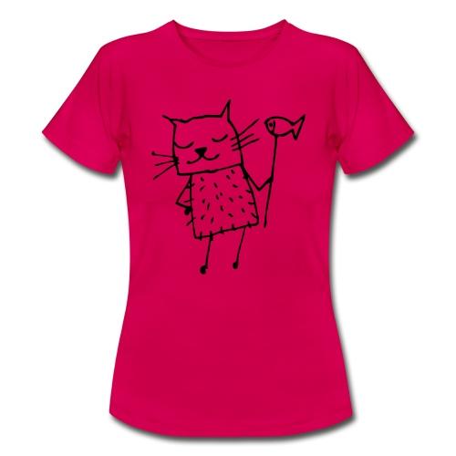 Süße Katze mit Fisch - Frauen T-Shirt