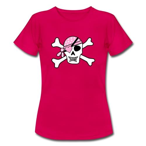 Totenkopf mit pinken Bandana - Frauen T-Shirt