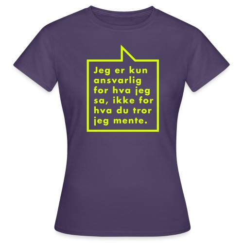 Ikke ansvarlig (fra Det norske plagg) - T-skjorte for kvinner