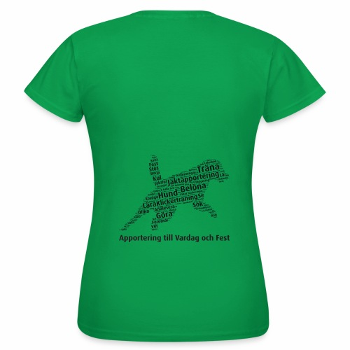 Apportering till vardag och fest wordcloud svart - T-shirt dam