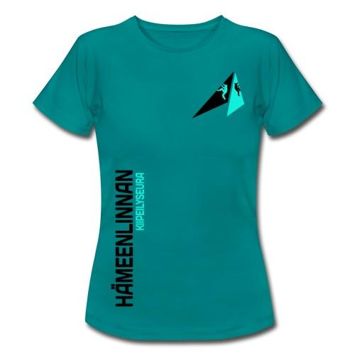 HKS LOGO pystyteksti vaalealle taustalle - Naisten t-paita