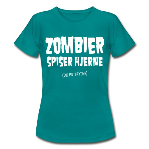 zombierspiserhjernenorsk01a - T-skjorte for kvinner