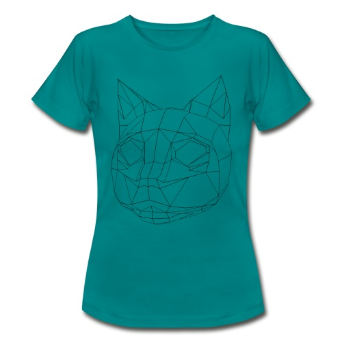 CAT wireframe black low poly - Camiseta mujer