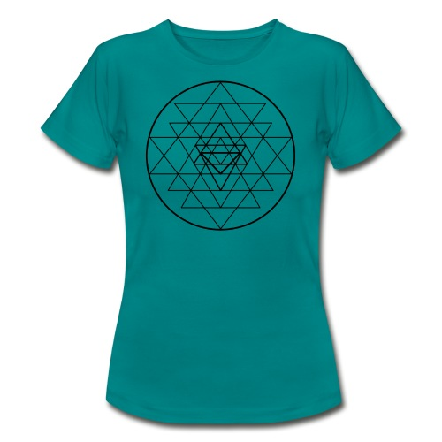 Sri Yantra - black and white - Dame-T-shirt