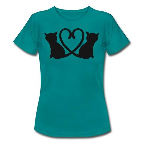 Katzen bilden ein Herz mit ihren Schwänzen - Frauen T-Shirt