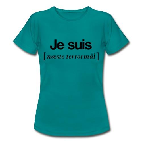 Je suis (sort skrift) - Dame-T-shirt