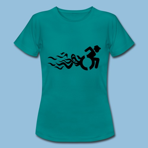 Wheelchair with flames 013 - Vrouwen T-shirt