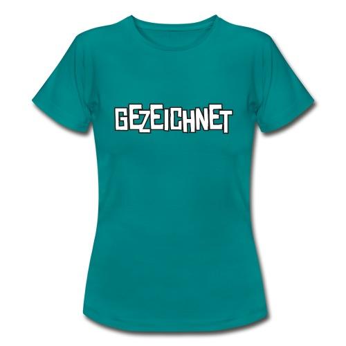Gezeichnet Logo Weiss auf Transparent gross - Frauen T-Shirt
