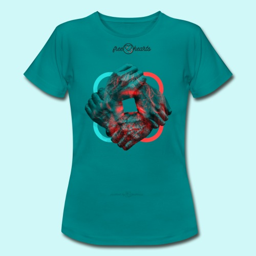 four hands for free hearts without scripture - Frauen T-Shirt