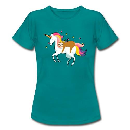 Funny Sloth Riding Unicorn - Frauen T-Shirt