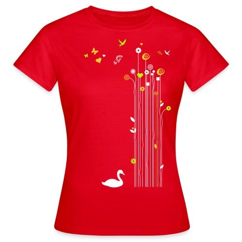 Frühling Schwan Blüten Schmetterlinge Valentinstag - Women's T-Shirt