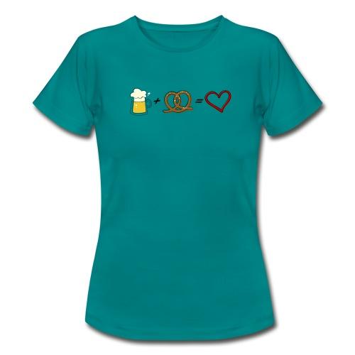 pretzel + beer = love - Women's T-Shirt