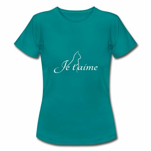 Je t'aime - Chat blanc, artistique avec silhouette - T-shirt Femme