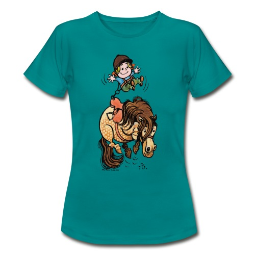 Thelwell Reiter Mit Gurt Und Buckelndes Pony - Frauen T-Shirt