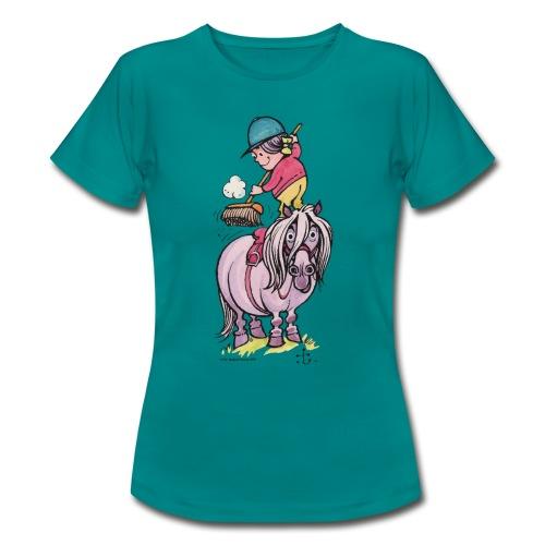 Thelwell Reiter Striegelt Pferd Mit Besen - Frauen T-Shirt