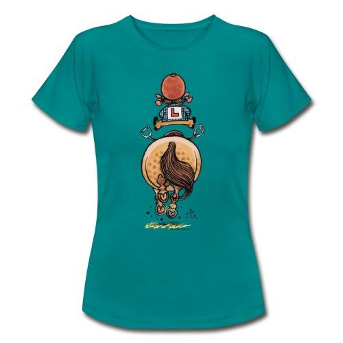 Thelwell Cartoon Reitanfängerin Im Galopp Mit Pony - Frauen T-Shirt