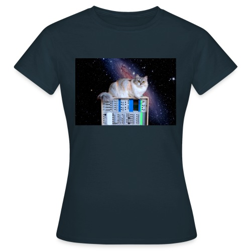 Cat on synthesizer in space EuroPaw - Vrouwen T-shirt