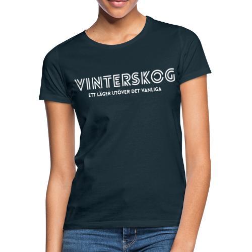 Vinterskog med vitt tryck - T-shirt dam