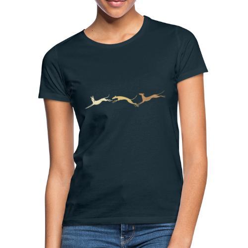 3 springende braune Windhunde - Frauen T-Shirt