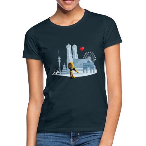 Skyline München mit Münchner Kindl und Herz - Frauen T-Shirt