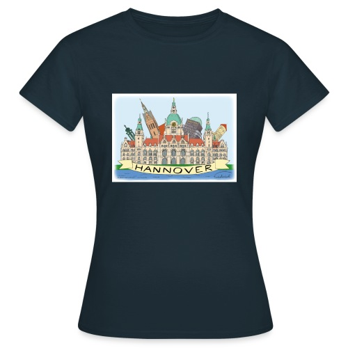 Hannover Rathaus Sehenswürdigkeiten Comic Style - Frauen T-Shirt