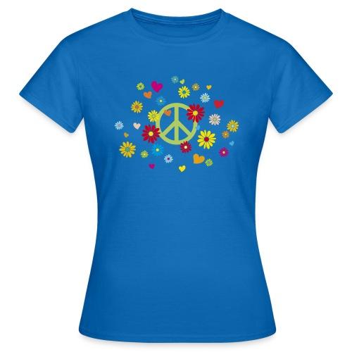 Peacezeichen Blumen Herz flower power Valentinstag - Women's T-Shirt
