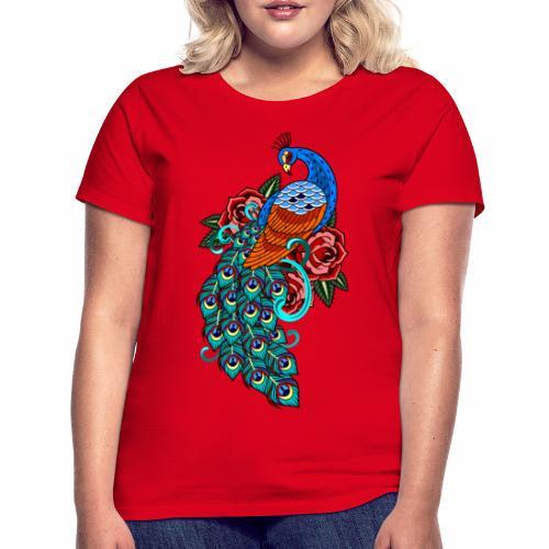 Farverig påfugl - Dame-T-shirt