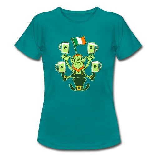 Leprechaun Juggling Beers and Irish Flag - Women's T-Shirt