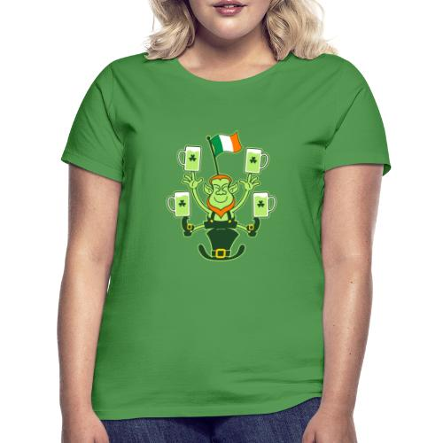 Leprechaun Juggling Beers and Irish Flag - Women's T-Shirt
