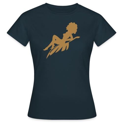 Afro Woman Sittin On Leaf Sihouette - Women's T-Shirt