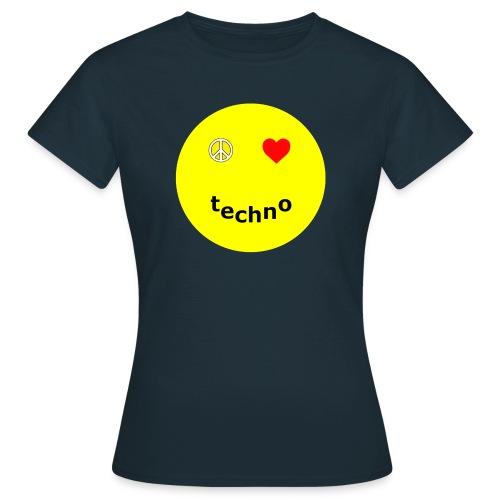 camiseta paz amor techno - Camiseta mujer