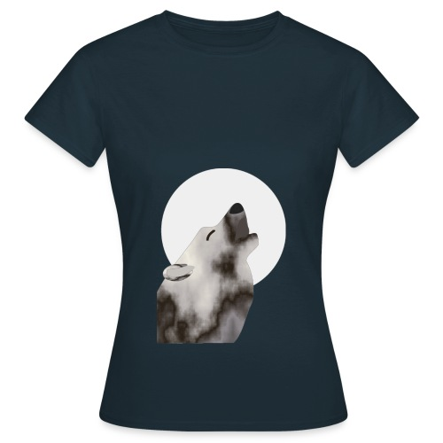 Wolf with moon - Women's T-Shirt