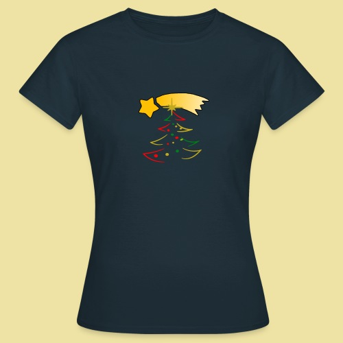 Weihnachtsbaum mit einer Sternschnuppe - Frauen T-Shirt
