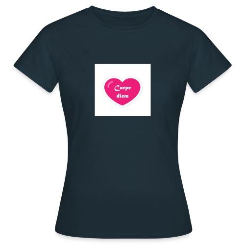 Spread shirt hjärta carpe diem vit text - T-shirt dam