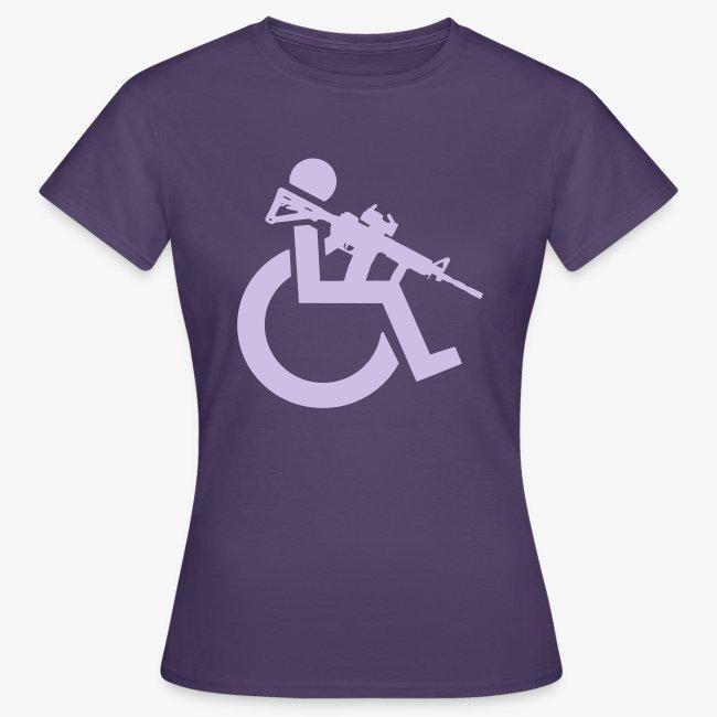 Gewapende rolstoel gebruiker met geweer, wapen