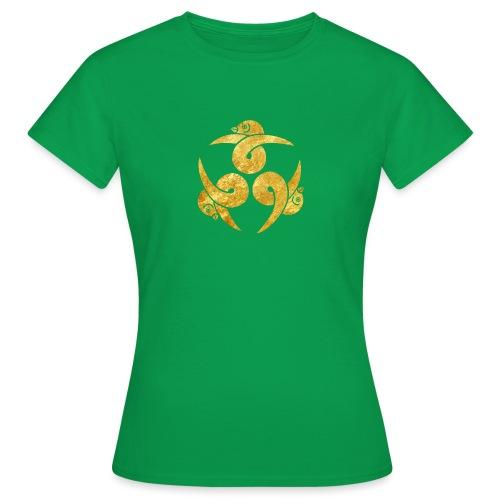 Three Geese Japanese Kamon in gold - Women's T-Shirt