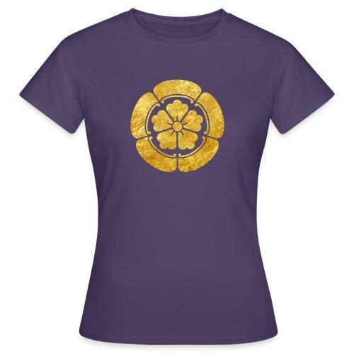 Oda Mon Japanese samurai clan faux gold on black - Women's T-Shirt