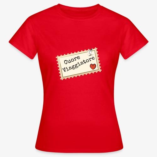 CUORE VIAGGIATORE Scritta con aeroplanino e cuore - Maglietta da donna