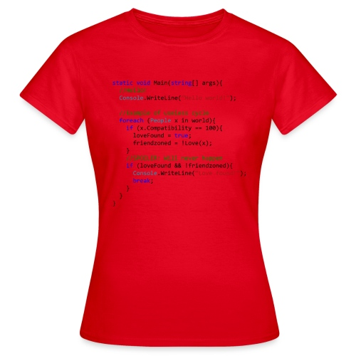 Love seen by a C# programmer - Maglietta da donna
