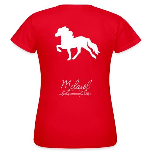 Großer Tölter & Melasól Logo auf dem Rücken weiß - Frauen T-Shirt