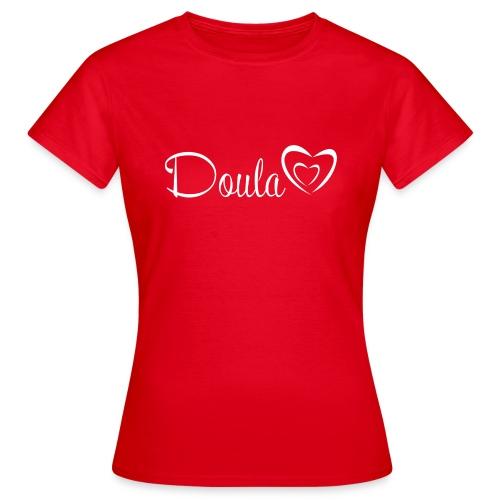 doula sydämet valkoinen - Naisten t-paita