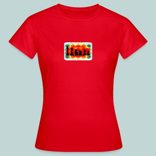 Schachfigurengruppe vignettiert - Frauen T-Shirt
