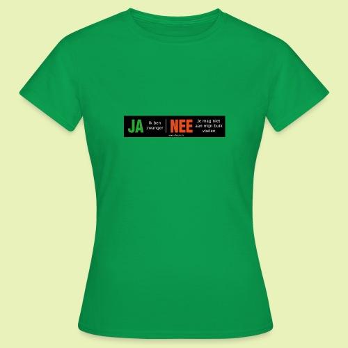 Ja-Nee sticker. Ja, zwanger, Nee niet mijn buik - Vrouwen T-shirt