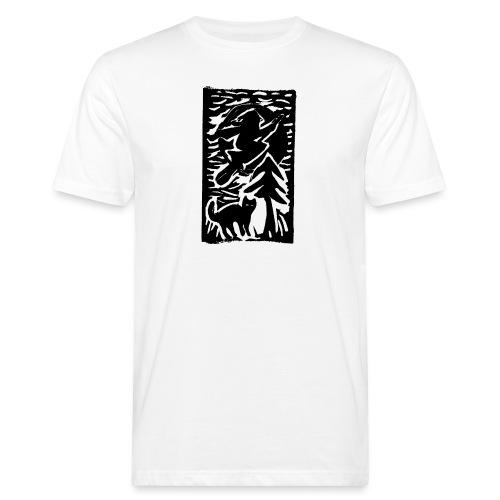 Hexe mit Katze - Männer Bio-T-Shirt