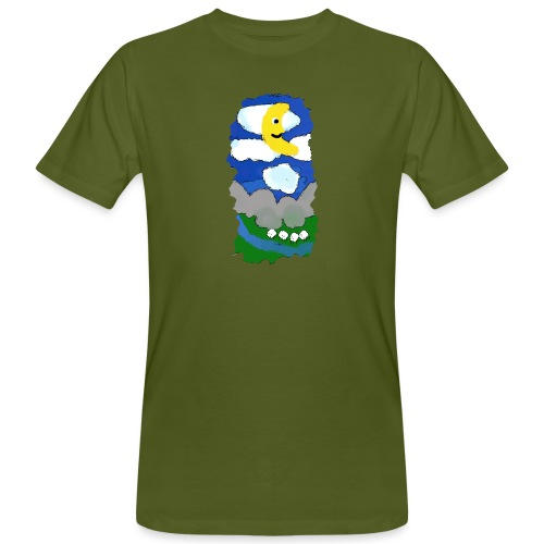 smiling moon and funny sheep - Men's Organic T-Shirt