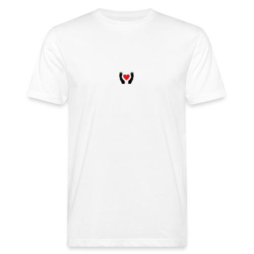 Schwarze Hände die rotes Herz halten - Männer Bio-T-Shirt
