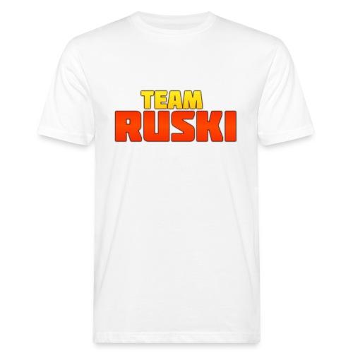 Vit T-shirt med Team Ruski tryck - Ekologisk T-shirt herr