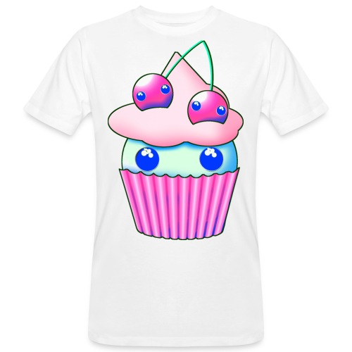 Sweet muffins with pink cherry and eyes - Men's Organic T-Shirt